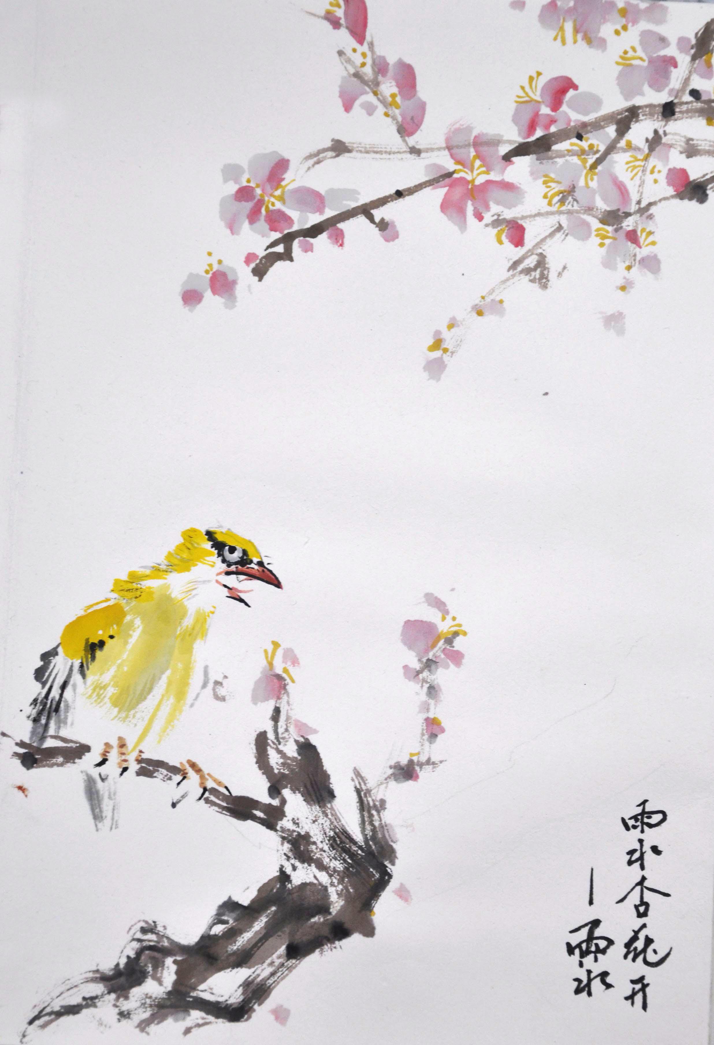 大学生村官孙志勇创作二十四节气水墨画图片