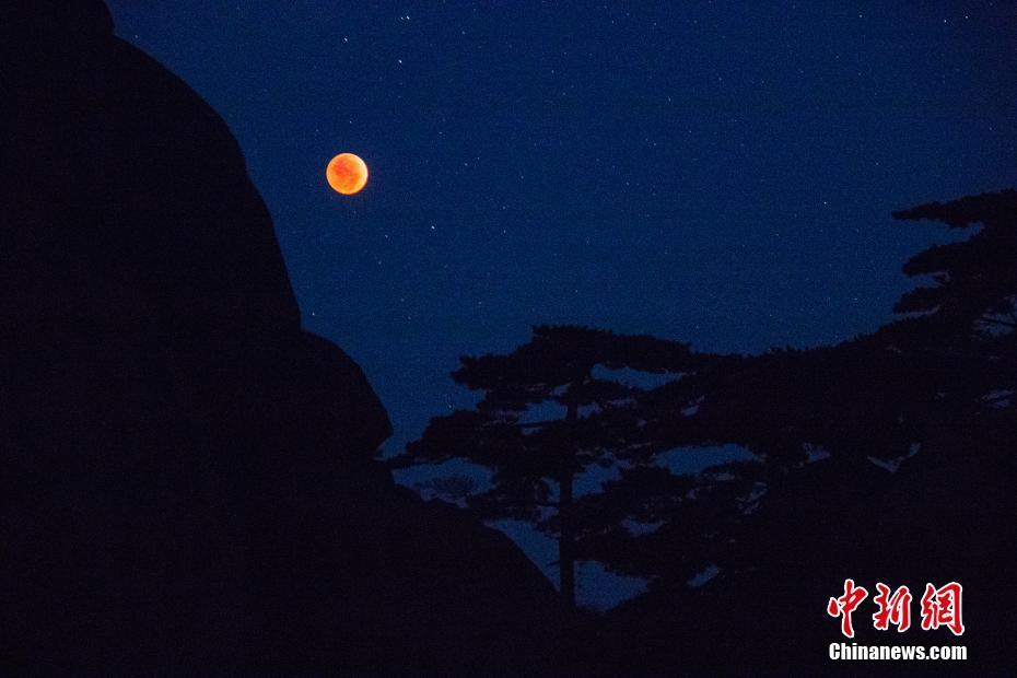 7月27日夜间,接连两场天文奇观火星大冲 和月全食在我国多地上演,安徽黄山风景区也出现了壮丽的红月亮景观。黄山风景区拥有观月的高海拔优势。夜间的黄山,天朗气清,视野开阔。28日凌晨3时许,月亮开始出现呈现古铜色,月色之下,松石辉映,随后月亮完全进入地球本影,一轮红月亮闪烁在黄山上空。天文预报显示,本次月全食的初亏为28日2时24分,食既为3时30分,食甚为4时22分,生光为5时14分,复圆为6时19分。其中,全食部分长达1小时44分,为21世纪以来历时最长的月全食。文/余皓 侯晏 图/毕隽